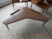 Antique Authentic Boomerang Table with Matching End Tables