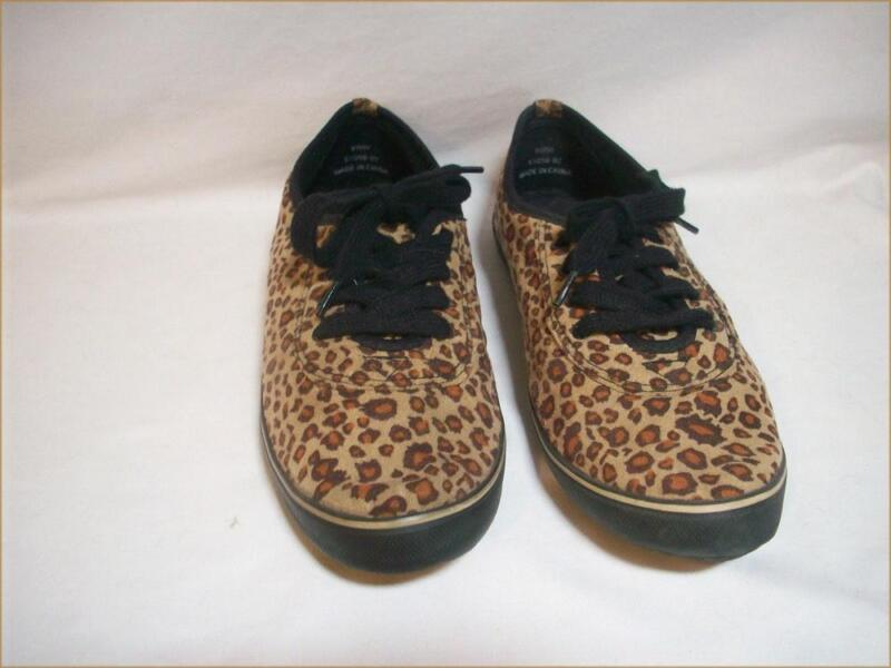 Leopard Animal Print Faux Suede Lace Up Sneakers Size 9W