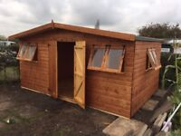 16FT X 10FT APEX HEAVY DUTY GARDEN STORAGE SHED 8 OPENING WINDOWS FULLY ASSEMBLED & TREATED