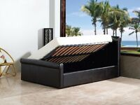 New Side Lift Ottoman Faux Leather Double or King Size - 5FT Bed Frame (Free Local Delivery)