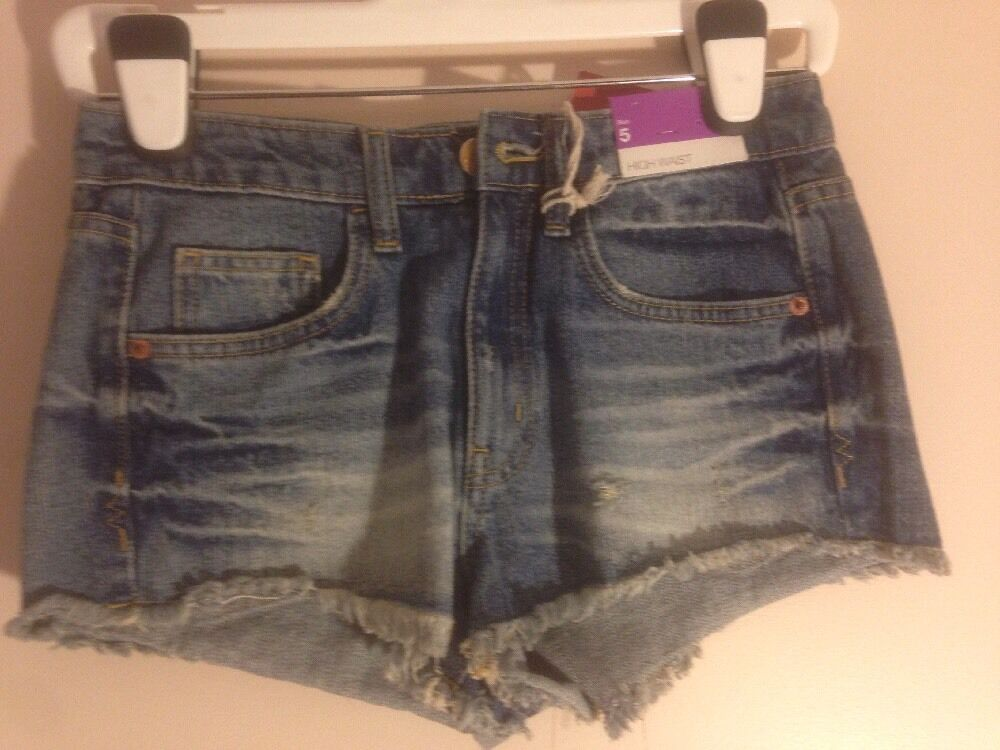 555ed5aea1 NWT JUNIORS MOSSIMO HIGH WAIST APOLLO BLUE DISTRESSED DENIM SHORTS ...