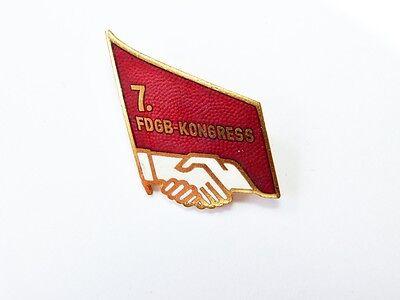 alter emallierter Anstecker 7. FDGB Kongress Gewerkschaft der DDR   X435