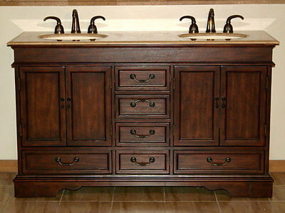 "60"" Bathroom Furniture Double Sink Vanity Bath Cabinet Travertine Stone Top 715T"