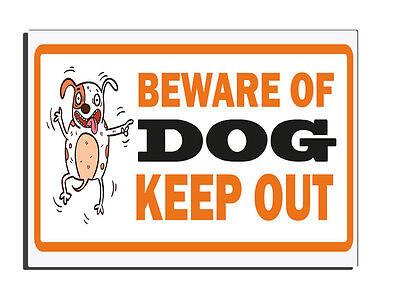 BEWARE OF THE DOG KEEP OUT - ORANGE WARNING GATE FENCE DOOR SIGN PET WARNING