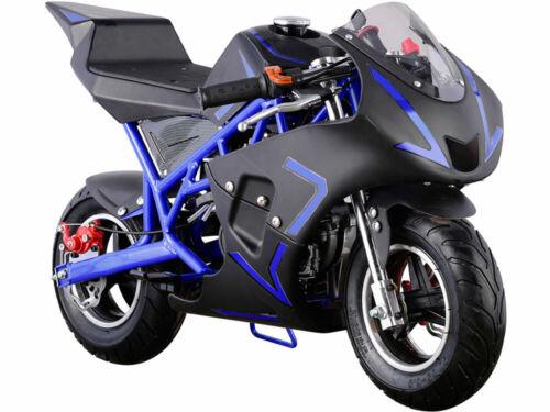Kids Mini Ride On Motorcycle Gas Pocket Bike 4 Stroke 40CC Toy Blue Boys Girls