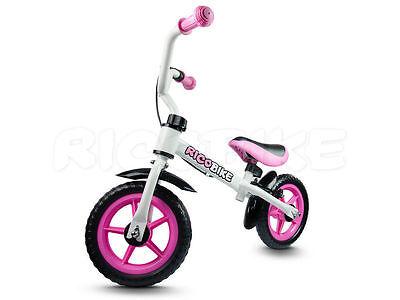 Laufrad für Kinder Metallrahmen V-BRAKE Schutzblech Ricobike RC-106 weiss-rosa
