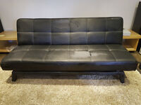 Black Leather Sofa Bed 180cm x 110cm