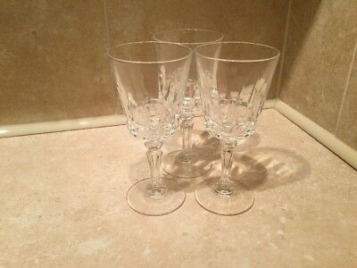 Set Of 3 Three Cut Glass Sherry Glasses