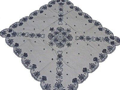 Black Elegant Large Tablecloth Hand Embroidered 40