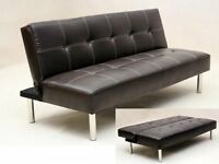 **14-DAY MONEY BACK GUARANTEE!** Italian Leather 3 Seater Sofa Bed sofabed - DELIVERED SAME DAY!