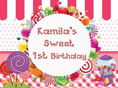 Candy Land Birthday Banner Backdrops Children Newborn Background 7x5ft Vinyl - Candyland Banner