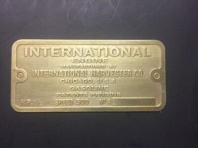 New International Ihc 1-12 M Etched Brass Tag Antique Gas Engine Hit Miss