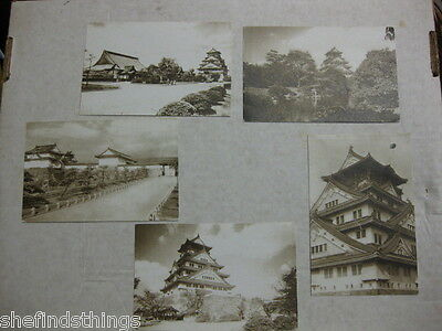 WW2 WWII Japan Sepia Photograph Pagoda Postcard Lot of 5 EXCellent Unused