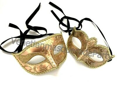 Mardi Gras Masquerade Ball Dresses (Gold Masquerade Ball mask Pair Costume Dress up Dance Mardi Gras Carnival)