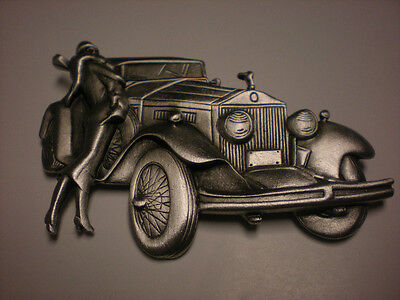 Jj Pewter Pin Beautiful    Vintage Car And Classy Woman     Signed Jj