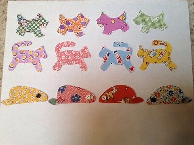 Set of 4 Cats,4 Dogs,4 Mice Iron-onCotton Fabric Appliques for Quilts & Apparel