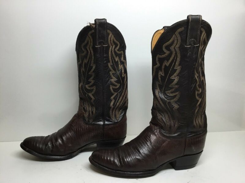 VTG, MENS, JUSTIN, COWBOY, LIZARD, SKIN, LEATHER, BROWN, BOOTS, SIZE, 7.5, D