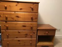Excellent condition pine chest of drawers (and matching bedside cabinet optional)