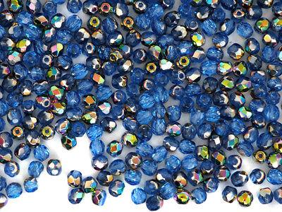 300 Preciosa Czech Glass Fire Polished Beads 6mm Sapphire Vitrail coated, blue