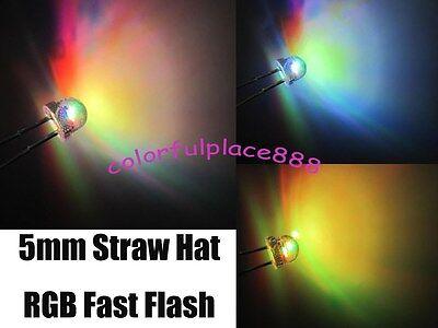 100pcs, 5mm Straw Hat Colorful Fast Flashing Flash RGB Red Blue Green LED Leds - Straw Hats Cheap