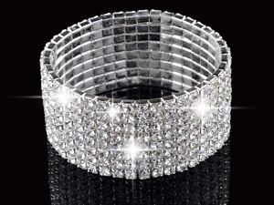 1/2/4/5/8 Rows Crystal Rhinestone Wedding Bridal Bracelet Bangle Bling Wristband