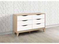 *FAST & FREE UK DELIVERY* Birlea 6 Drawer Wide Bedroom Storage Chest in White and Beech Wood