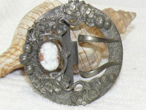 Antique Art Nouveau Victorian Cameo Silverplated 2 Prong Womens Belt/Sash Buckle