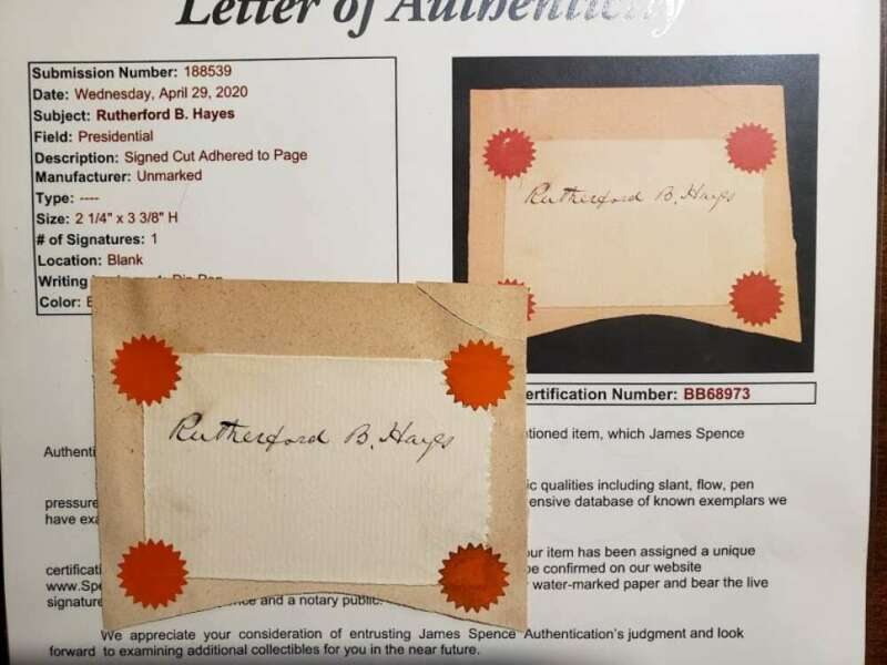 Rutherford B Hayes JSA Loa Hand Signed Cut Autograph