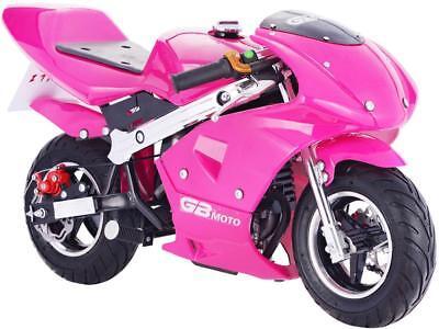 Mototec Gbmoto Gas Pocket Bike 40Cc 4 Stroke Pink 20 Mi Tank Chain Drive Age 13