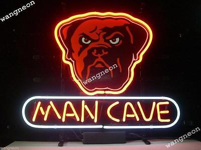 New CLEVELAND BROWNS Dog Head MAN CAVE Beer Bar Real Neon Light Sign FREE SHIP