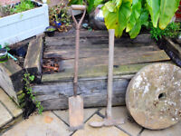 Pair Vintage Tools Post Hole Fence Spade and Trench Tool Pickaxe Good Condition