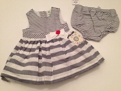 Little Me Baby Girl Dress Diaper Cover Set Size 6 24 Months Denim Blue Nautical