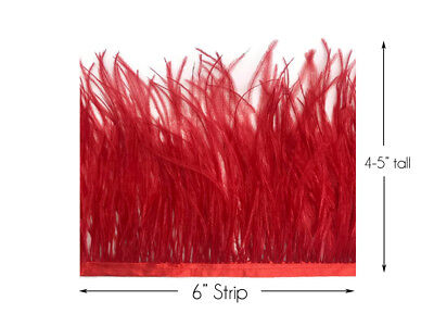 6 Inch Strip - Red Ostrich Fringe Trim Feather Millinery Jewelry Carnival Supply
