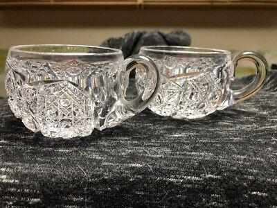 Exquisite  Antique American Brilliant Cut Glass Punch Bowl  Cups  Two Pieces