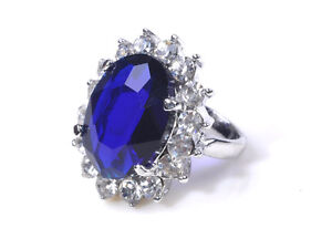Crystal Sapphire Gemstone Princess Wedding Engagement Platinum P Ring Pick Size