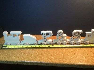 Letter Wood Name Train - WOODEN LETTER NAME TRAIN  on Wheels Fancy Font All Available