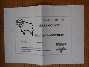13-10-1999-Ticket-Derby-County-v-Bolton-Wanderers-Large-Print-Out-Style-Folde