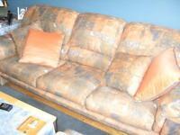 RABAIS:Sofa 3 places seul ou +pouf +causeuse (pêche/bleu)&coffre