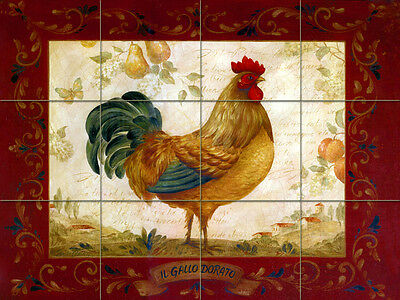 24 x 18 Art Mural Ceramic Bath Backsplash Rooster Tile #322