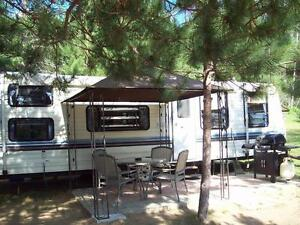 TRAILER-all services, on River, access to lake,1 km. from  beach