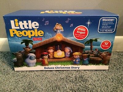 Fisher Price Little People Christmas Story Nativity Set Deluxe Lights Playset