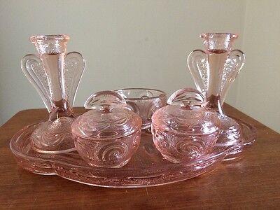 Vintage Bagley Rutland Pink Glass Dressing Table Set - 6 Pieces