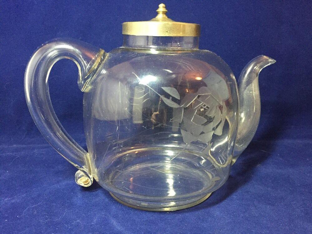 Vintage Antique 1920 39 S Etched Glass Teapot Rare Old