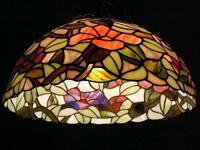 """Splendide lustre style Tiffany, 48""""x16""""/diam. floral multicolore"""