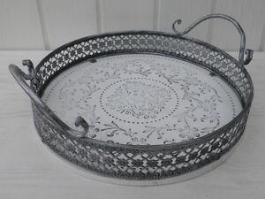 Deko tablett romantica klein rund in holz metall ebay - Deko tablett metall ...