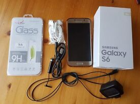 Samsung Galaxy S6 G920F 32GB Gold Platinum NO SCRATCHES On EE, With Case, Boxed With Charger & Leads