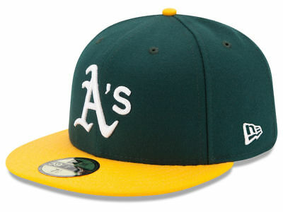 New Era Oakland Athletics HOME 59Fifty Fitted Hat (Green/Yellow) MLB Cap - Green New Era Hats
