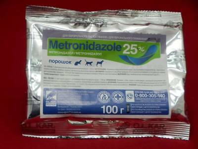 Metronidazole 25  100G Powder Flagyl Antibiotic  Antiprotozoal Dog Cat Animals