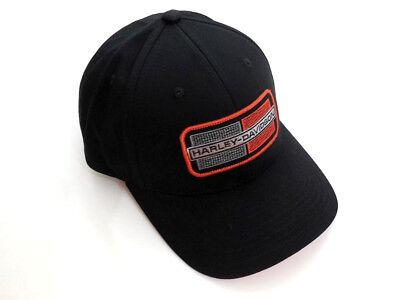 Applique Cap (Harley Davidson Embroidered Applique Cap Kappe Baseball Schwarz 97644-18VM)
