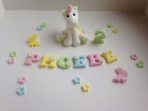 Edible fairytale unicorn cake topper decoration + name + flowers